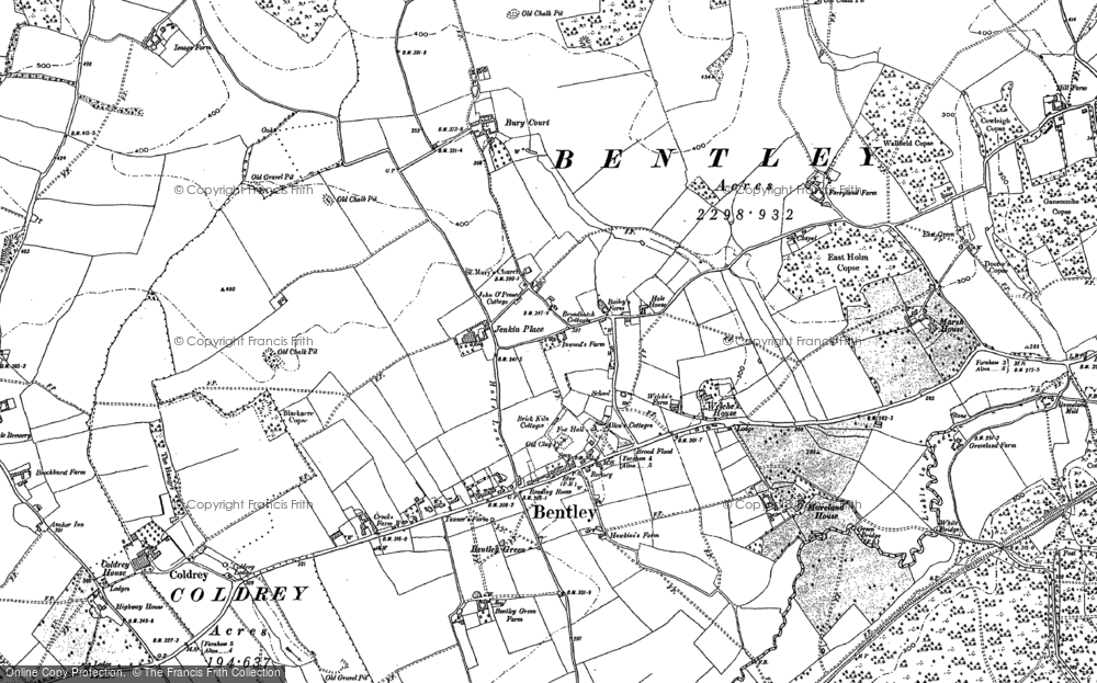 Old Map of Bentley, 1909 in 1909