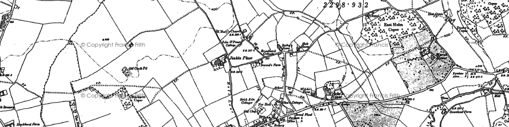 Old map of Bentley in 1909