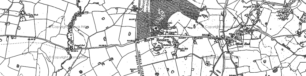 Old map of Beoley in 1883