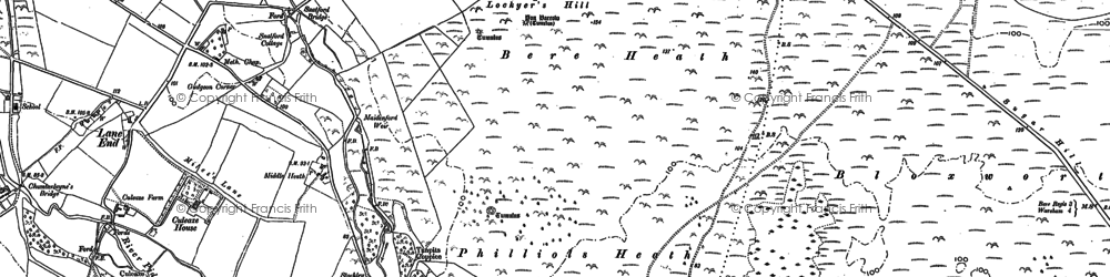 Old map of Yon Barrow in 1886