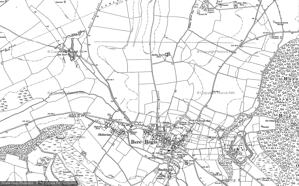 Old Map of Bere Regis, 1887 in 1887