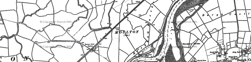 Old map of Acle Marshes in 1884