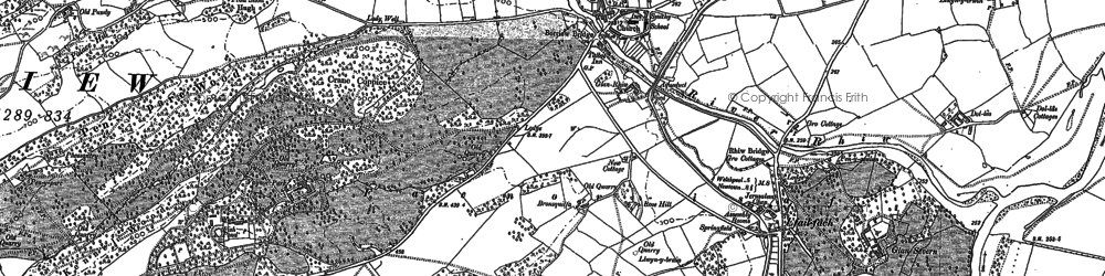 Old map of Berriew in 1884