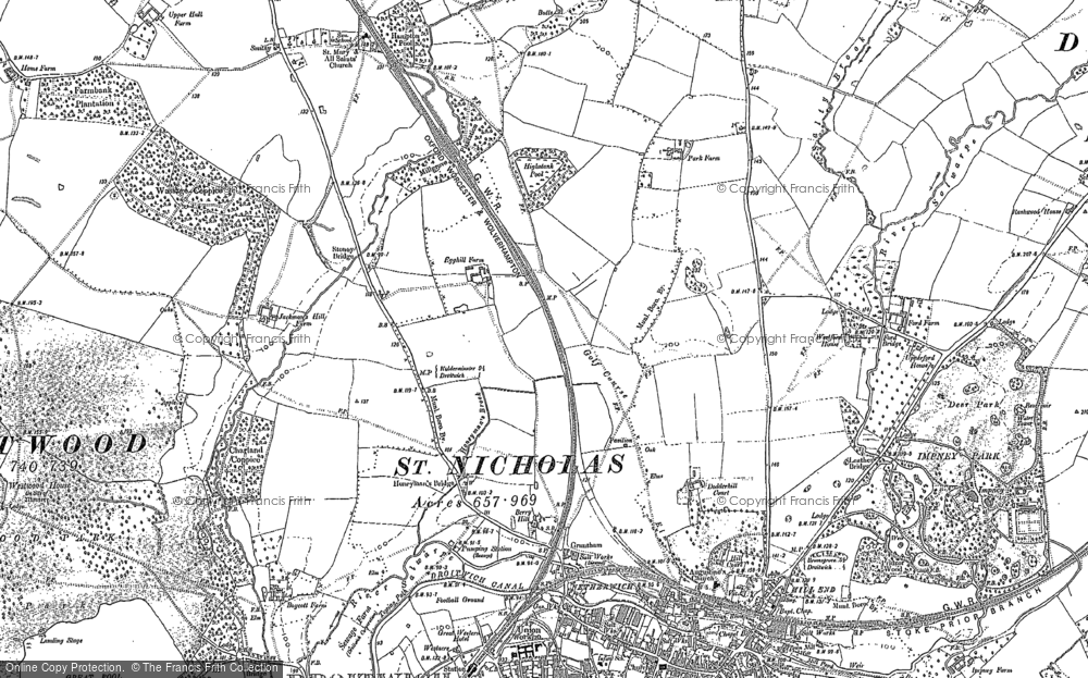 Old Map of Historic Map covering Westlands in 1883