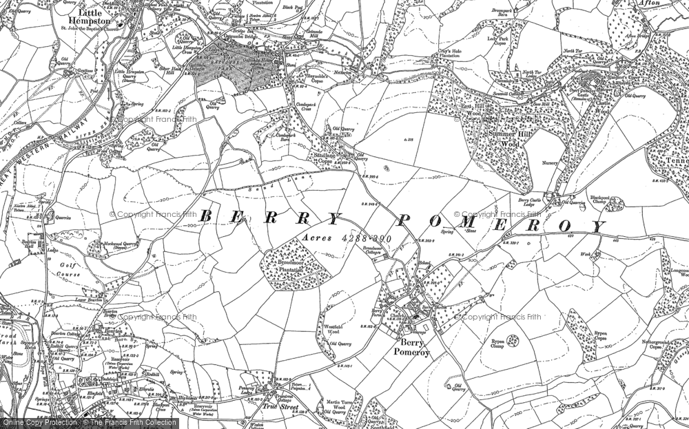 Old Map of Berry Pomeroy, 1886 - 1887 in 1886