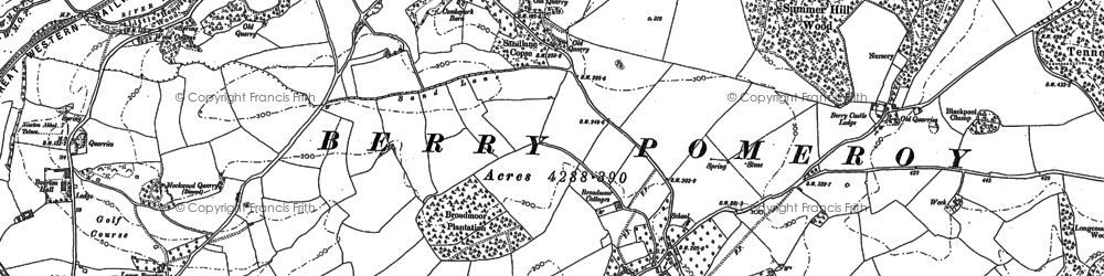 Old map of Berry Pomeroy in 1886