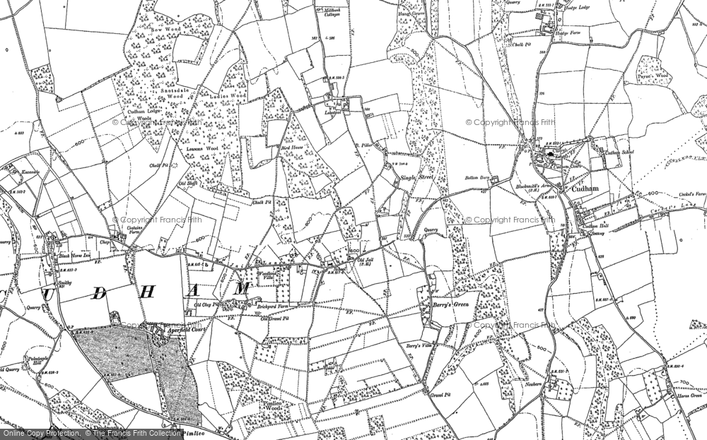 Old Map of Berry's Green, 1908 in 1908