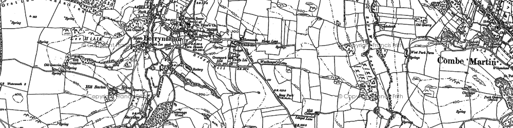 Old map of Berrynarbor in 1886