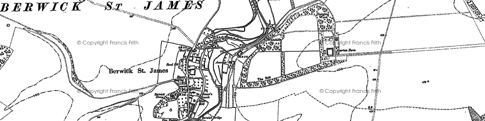 Old map of Berwick St James in 1899