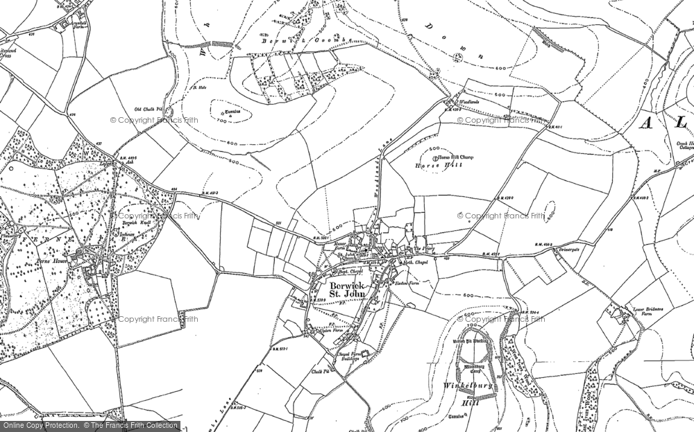 Old Map of Historic Map covering Woodlands in 1900