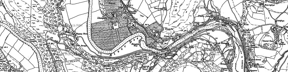 Old map of Llantysilio in 1898