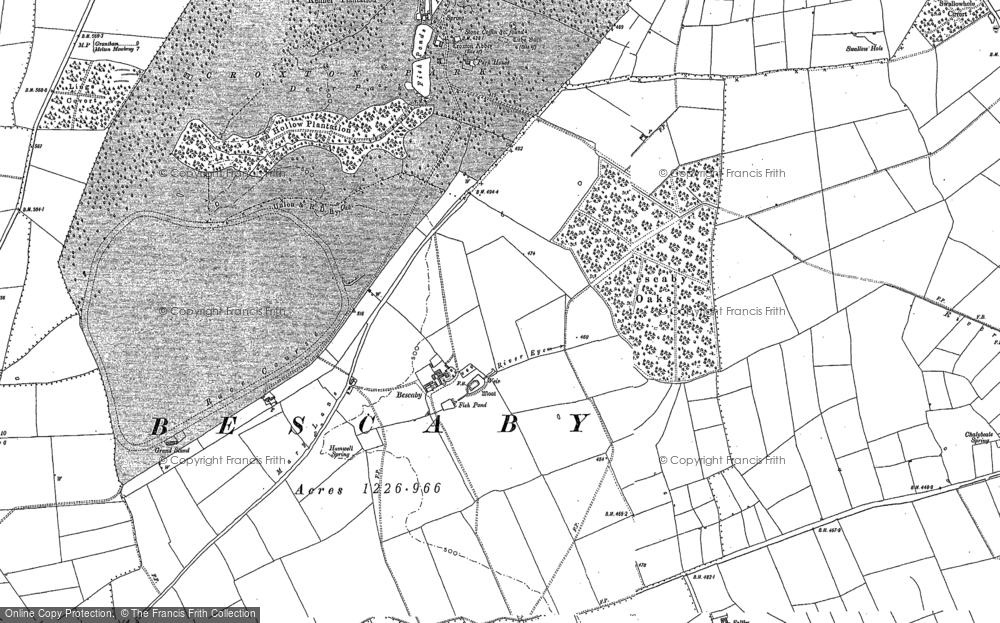 Old Map of Historic Map covering Lings Covert in 1884