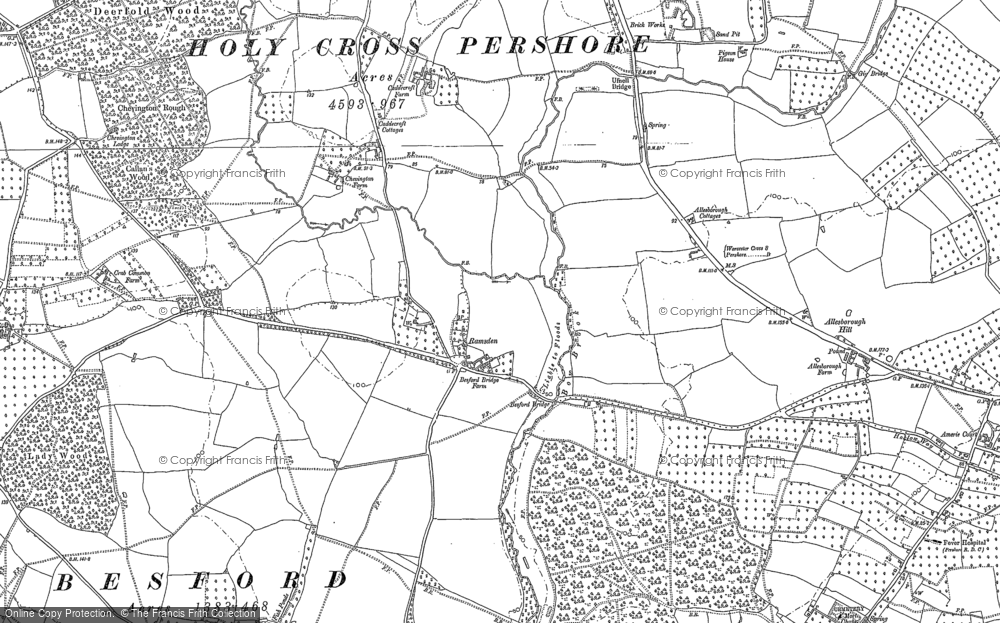 Old Map of Historic Map covering Allesborough Hill in 1884