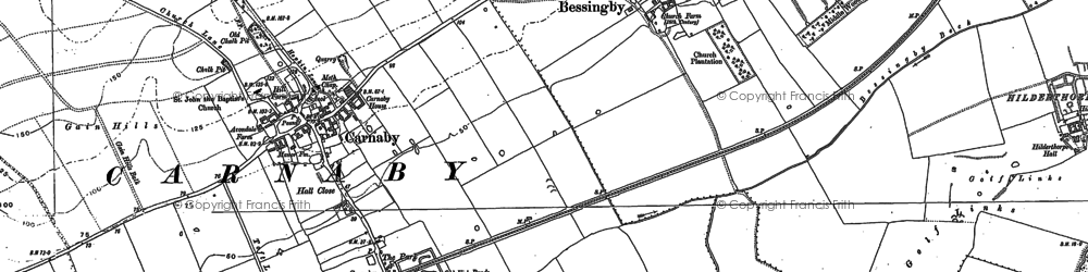 Old map of Bessingby in 1909