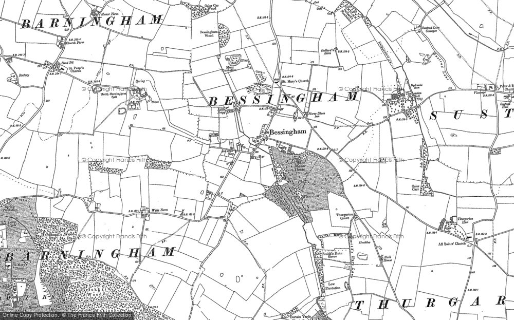 Old Map of Historic Map covering Aldborough Hall in 1883