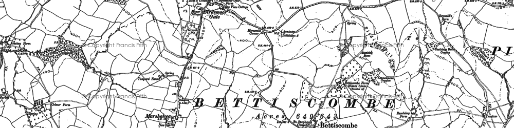 Old map of Bettiscombe in 1887