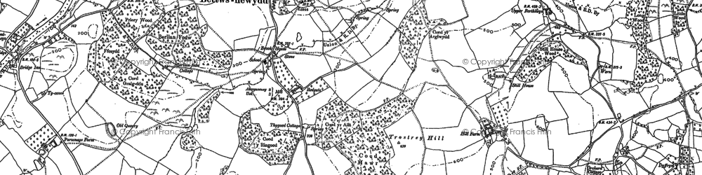 Old map of Bettws Newydd in 1899
