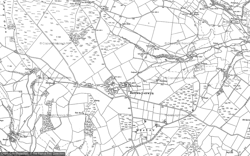 Old Map of Historic Map covering Badger Moor in 1887