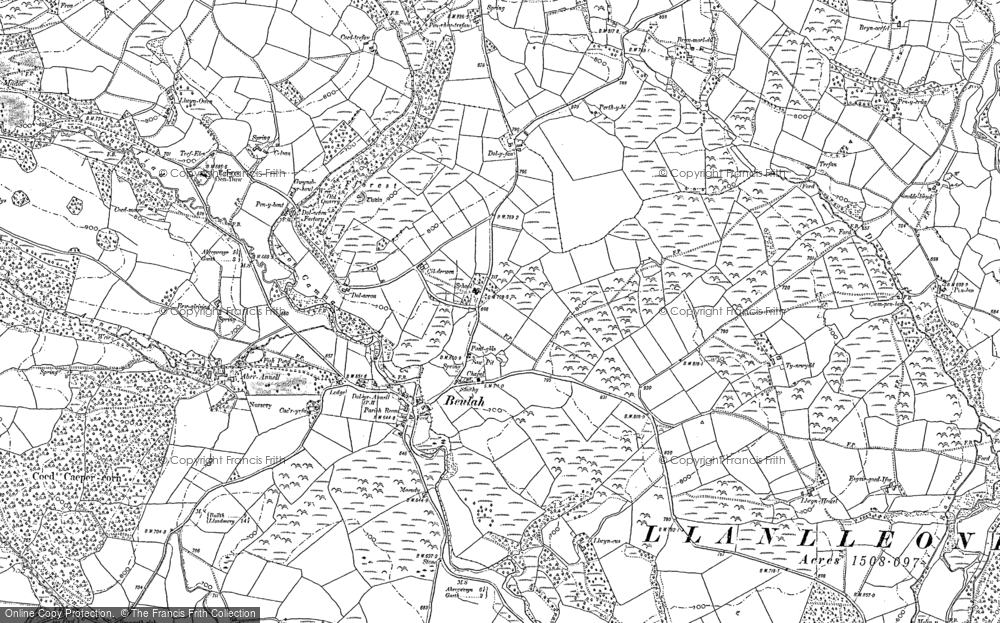 Old Map of Historic Map covering Allt Lwyd in 1887