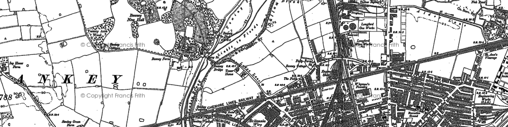 Old map of Bewsey in 1891