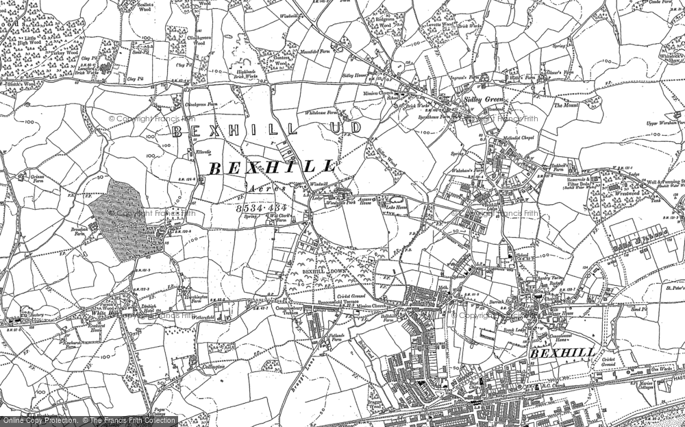 Map of Bexhill, 1908