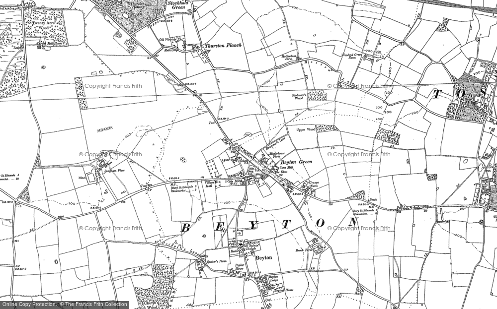 Old Map of Historic Map covering Thurston Planche in 1883