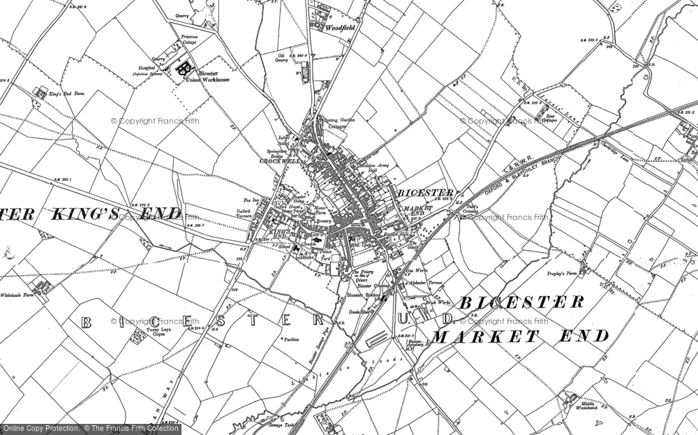 Old Map of Historic Map covering Woodfield in 1898
