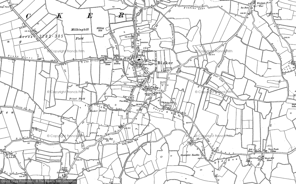 Old Map of Bicker, 1887 in 1887
