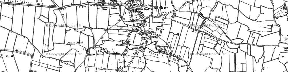 Old map of Bicker in 1887