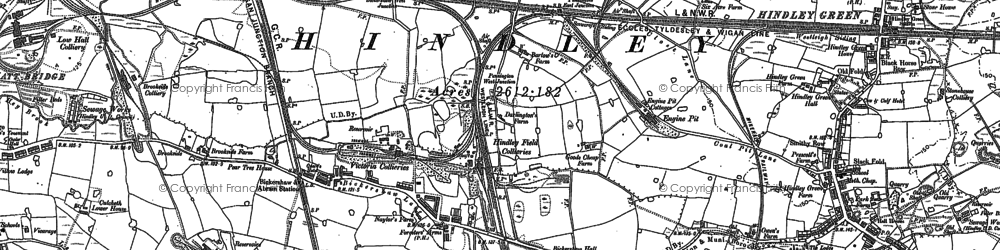 Old map of Bickershaw in 1892