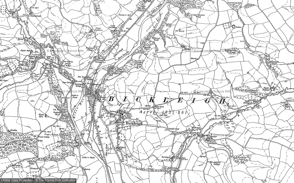 Old Map of Bickleigh, 1884 in 1884