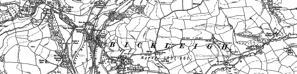 Old map of Bickleigh in 1884