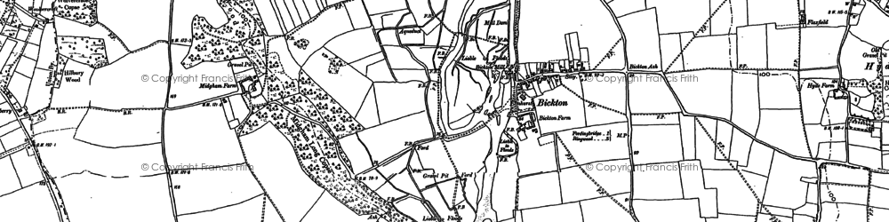 Old map of Bickton in 1907