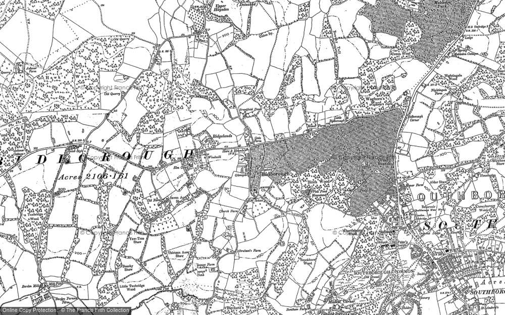 Old Map of Historic Map covering Ashour Wood in 1895