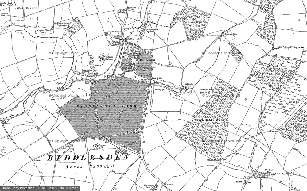 Old Map of Historic Map covering Wood Green in 1883