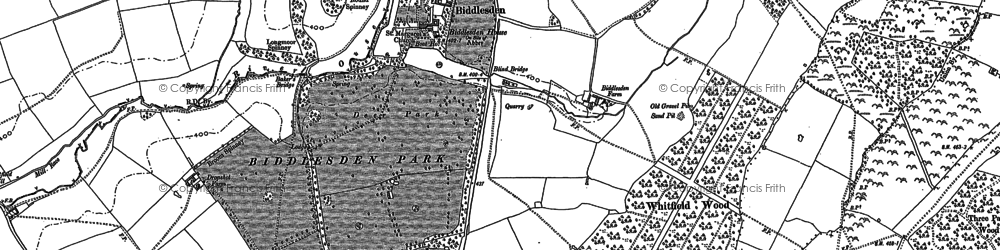 Old map of Whitfield Wood in 1883