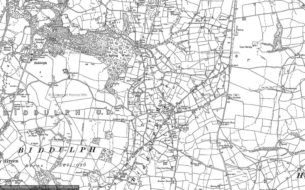 Old Map of Historic Map covering Woodhouse in 1878