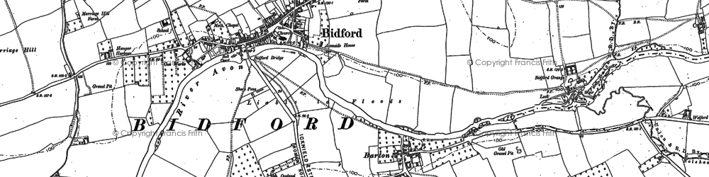 Old map of Bidford-on-Avon in 1883