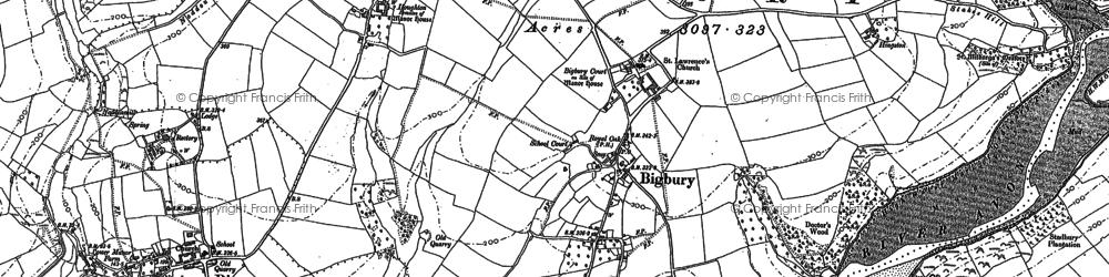Old map of Bigbury in 1884