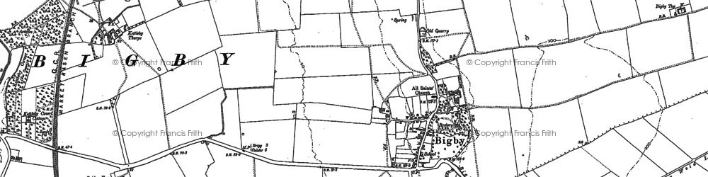 Old map of Bigby in 1886