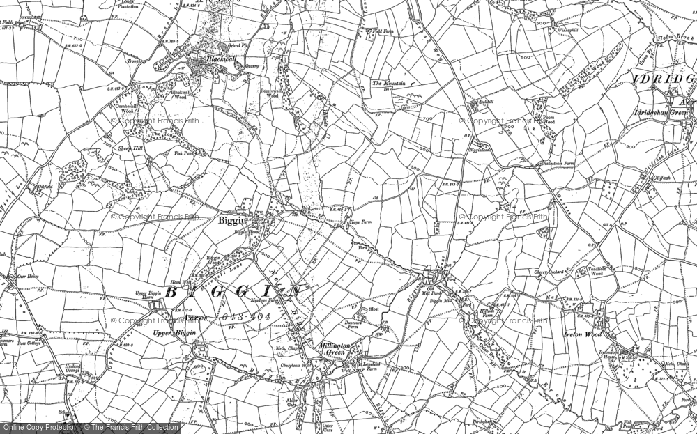 Old Map of Historic Map covering Sheep Hills in 1880