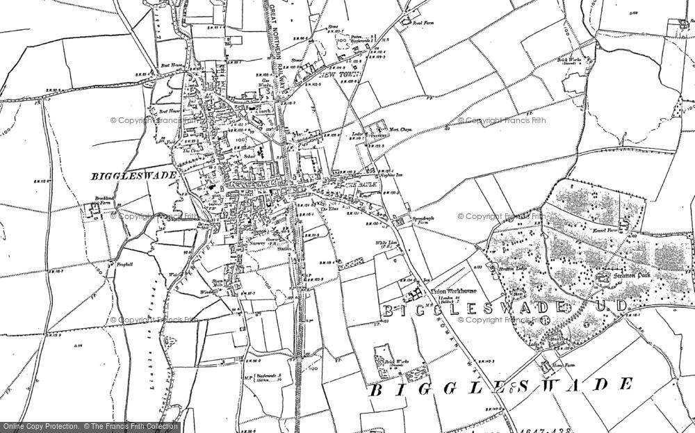 Map of Biggleswade, 1900