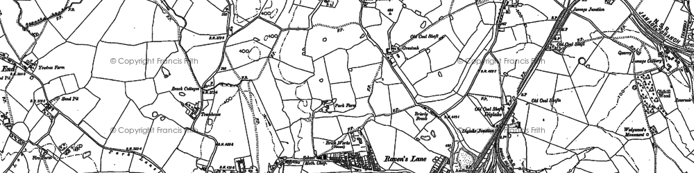 Old map of Bignall End in 1898