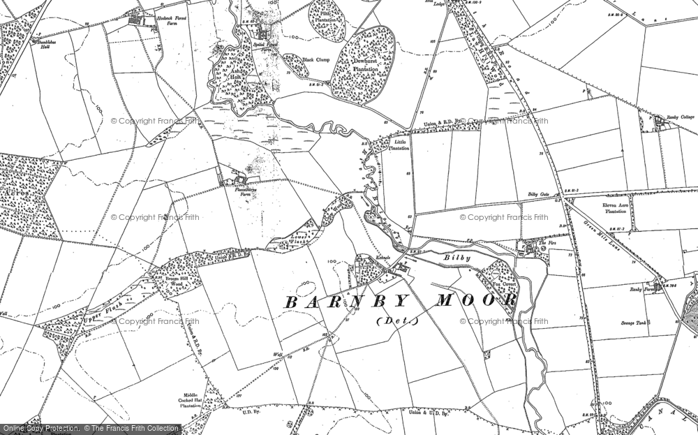 Old Map of Historic Map covering Ash Holt in 1885