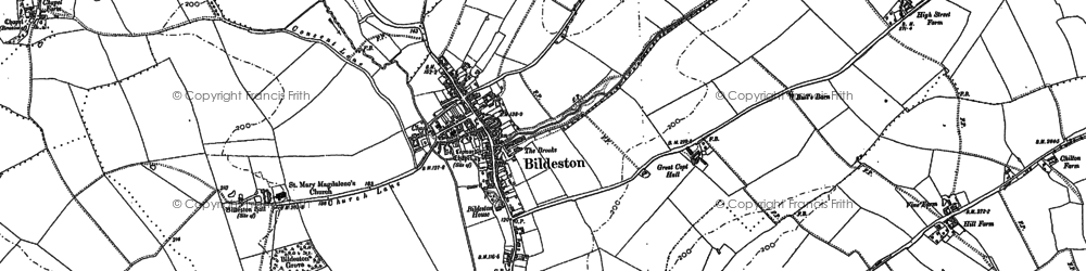 Old map of Bildeston in 1884