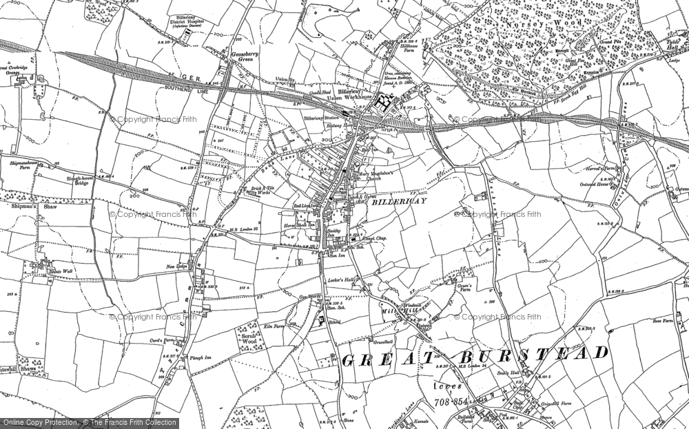 Map of Billericay, 1895