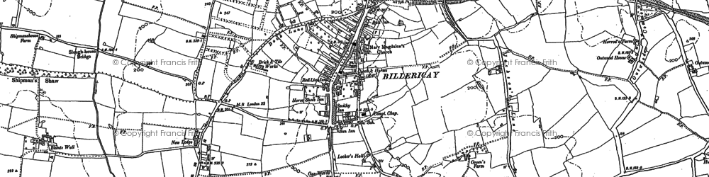 Old map of Billericay in 1895