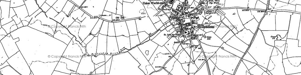 Old map of Billesdon in 1884