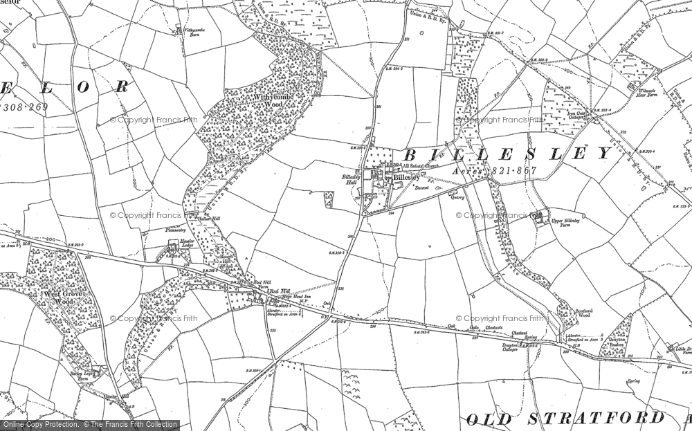 Old Map of Historic Map covering Aston Holdings in 1885