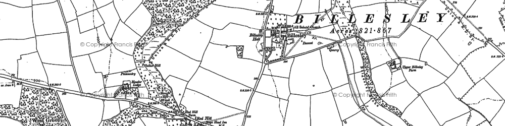 Old map of Aston Holdings in 1885